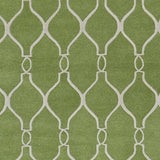 Classic Trellis Rug in Greenery and Ivory - Yarn and Loom Rugs