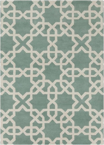 Modern Moroccan Trellis Rug in Mint Green and White - Yarn and Loom Rugs