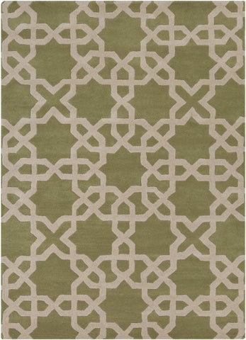 Modern Moroccan Trellis Rug in Green and Beige - Yarn and Loom Rugs
