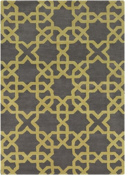Modern Moroccan Trellis Rug in Dark Grey and Mustard - Yarn and Loom Rugs