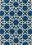 Modern Moroccan Trellis Rug in Royal Blue and White - Yarn and Loom Rugs
