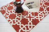 Modern Moroccan Trellis Rug in Redish-Orange and White - Yarn and Loom Rugs