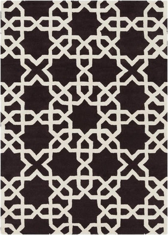Modern Moroccan Trellis Rug in Chocolate Brown and White - Yarn and Loom Rugs