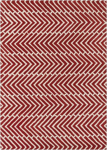 Herringbone Rug in Red and White - Yarn and Loom Rugs