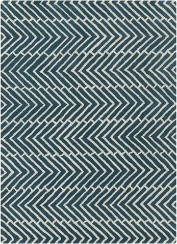 Freccia Chevron Rug in Green and White - Yarn and Loom Rugs