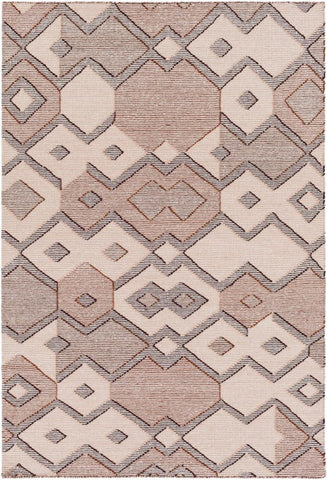 Durban Flatweave Rug in Cream, Rust Red and Dark Brown
