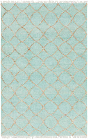Ellipse Jute Rug in Mint, Camel and Cream