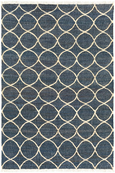 Ellipse Jute Rug in Navy Blue and Cream - Yarn and Loom Rugs