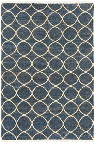 Ellipse Jute Rug in Navy Blue and Cream