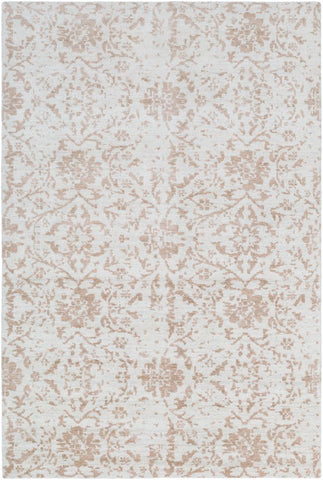 Erased Floral Rug in Camel and Cream - Yarn and Loom Rugs
