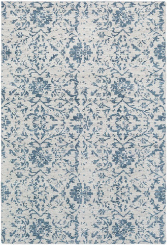 Erased Floral Rug in Denim and Ivory - Yarn and Loom Rugs