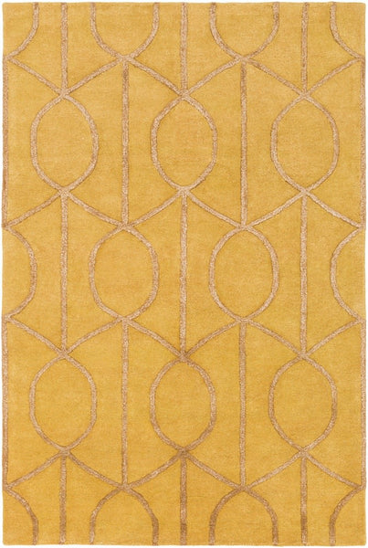Figaro Trellis Rug in Mustard and Camel - Yarn and Loom Rugs