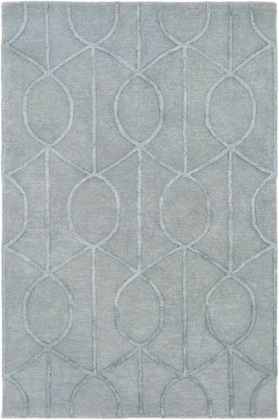 Figaro Trellis Rug in Sage and Light Grey - Yarn and Loom Rugs