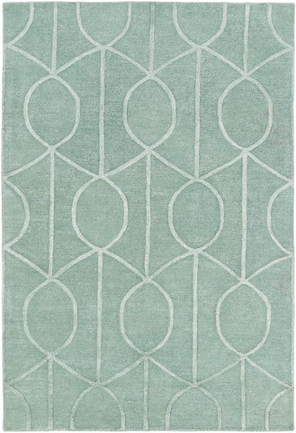 Figaro Trellis Rug in Seafoam Green - Yarn and Loom Rugs