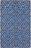 Flatweave Diamond Lattice Rug in Navy Blue and Ivory - Yarn and Loom Rugs