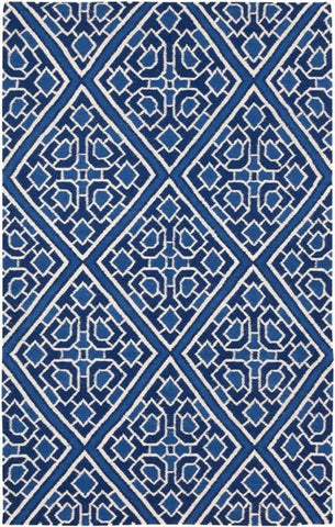 Flatweave Diamond Lattice Rug in Navy Blue and Ivory - Yarn & Loom Rugs