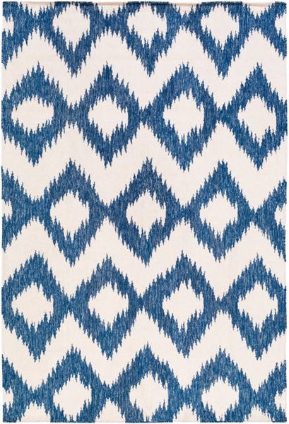 Flatweave Ikat Rug in Navy Blue and Cream
