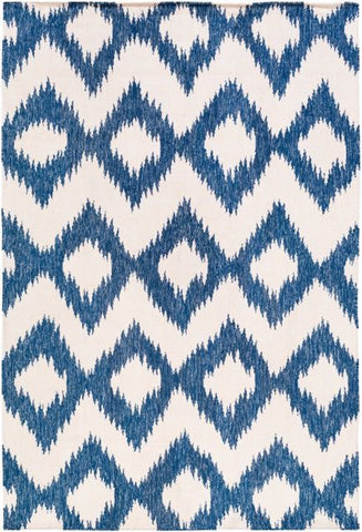 Flatweave Ikat Rug in Navy Blue and Cream - Yarn and Loom Rugs
