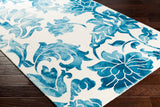 Fleur De Lis Rug in Aqua and White - Yarn and Loom Rugs