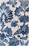Fleur De Lis Rug in Navy Blue and Cream - Yarn and Loom Rugs
