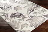 Fleur De Lis Rug in Medium Grey and Cream - Yarn and Loom Rugs