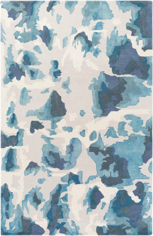 Andaman Watercolour Rug in Light Grey and Navy - Yarn and Loom Rugs