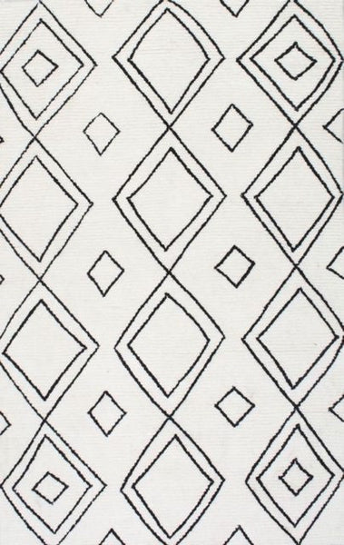 Ekati Diamond Rug in Ivory and Black - Yarn and Loom Rugs