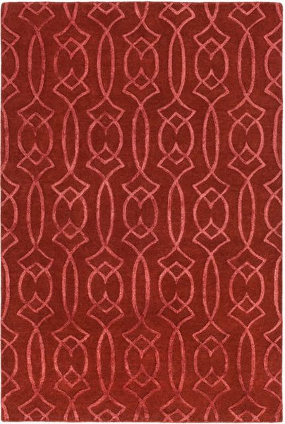 Georgia Trellis Rug in Rust Red - Yarn & Loom Rugs