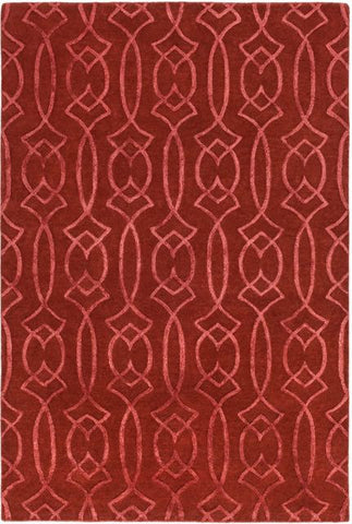 Georgia Trellis Rug in Rust Red - Yarn and Loom Rugs