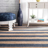 Hamilton Striped Jute Rug in Navy Blue and Natural