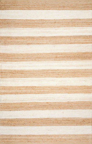 Hamilton Striped Jute Rug in White and Natural