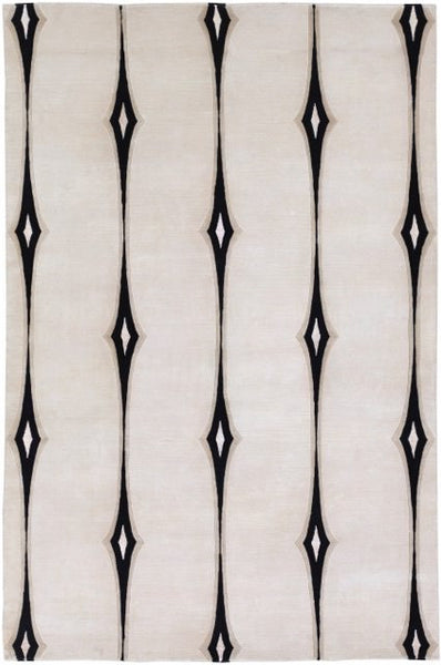 Hand-Knotted Deco Rug in Beige and Black - Yarn & Loom Rugs