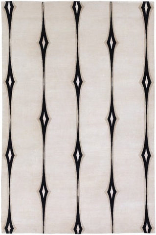 Hand-Knotted Deco Rug in Beige and Black - Yarn and Loom Rugs