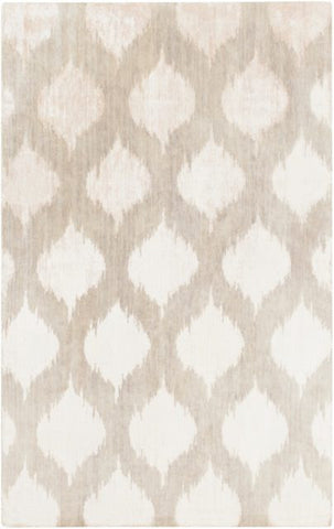 Hand-Knotted Ikat Rug in Silver Grey and Ivory - Yarn and Loom Rugs