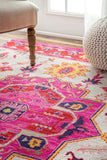 Arak Medallion Rug in Ivory and Hot Pink - Yarn and Loom Rugs
