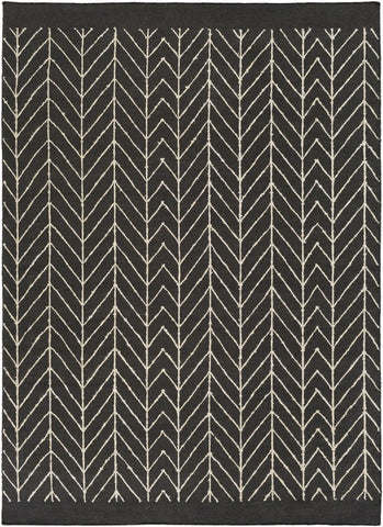 Herringbone Rug in Black and White - Yarn and Loom Rugs