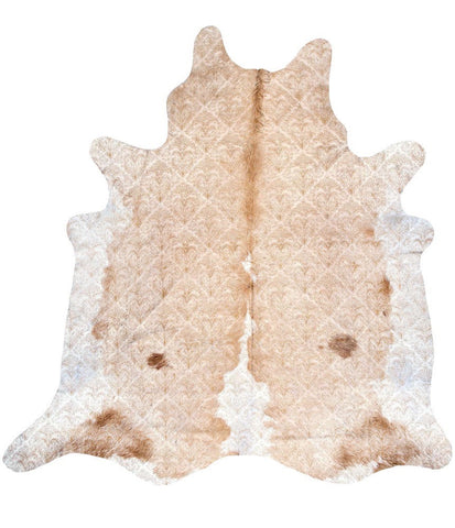 Intricate Cowhide in Natural - Yarn and Loom Rugs