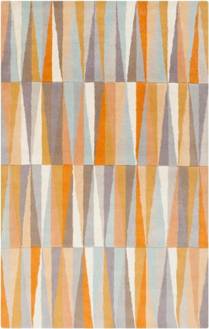 Isosceles Rug in Bright Orange, Light Grey, Beige, Mauve and Camel