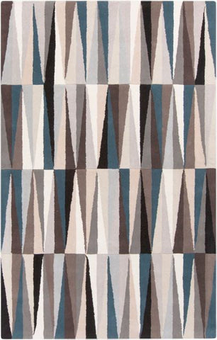 Isosceles Rug in Taupe, Black, Light Grey and Blue - Yarn and Loom Rugs