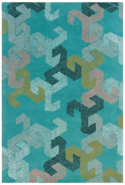 Connected Rug in Turquoise - Yarn and Loom Rugs