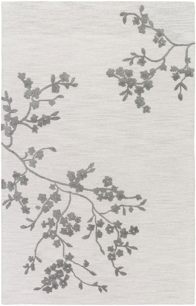 Japanese Blossom Rug in Cream, Taupe and Charcoal - Yarn and Loom Rugs