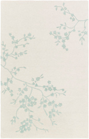 Japanese Blossom Rug in Cream, Light Grey and Sage - Yarn and Loom Rugs