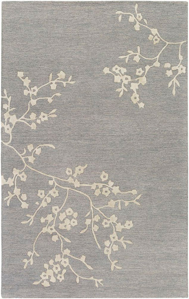 Japanese Blossom Rug in Medium Grey, Taupe and Khaki - Yarn and Loom Rugs
