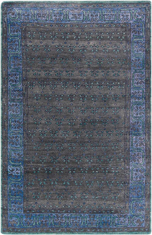 Kashan Overdye Rug in Black, Dark Blue and Dark Green