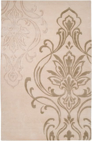 Winton Damask Rug in Beige and Pale Olive