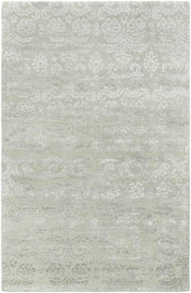 Lirac Damask Rug in Green - Yarn and Loom Rugs