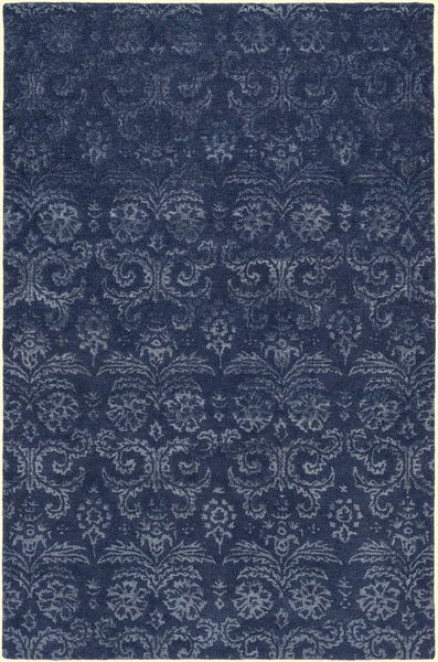 Lirac Damask Rug in Navy Blue - Yarn and Loom Rugs