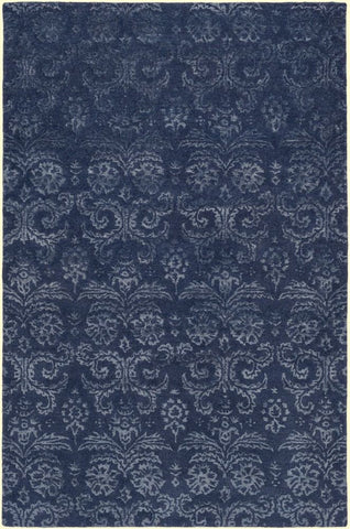 Lirac Damask Rug in Navy Blue