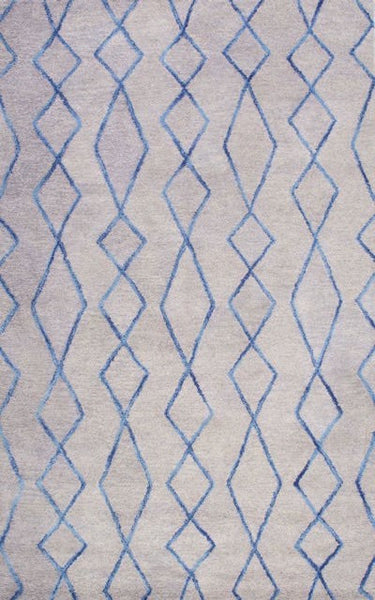 Presley Geometric Rug in Grey and Sapphire Blue - Yarn and Loom Rugs