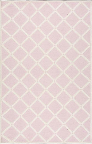 Diamond Lattice Rug in Soft Pink & Ivory - Yarn and Loom Rugs